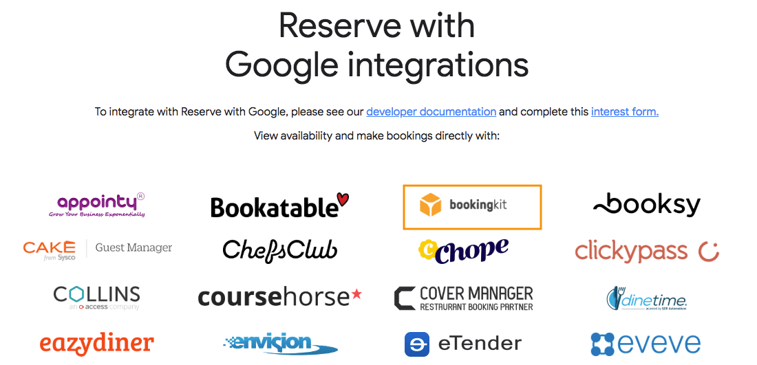 Reserve with Google und bookingkit